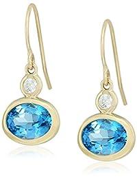 镀金纯银蓝色托帕石和 Swarovski 氧化锆纹理饰面 leverback 耳环