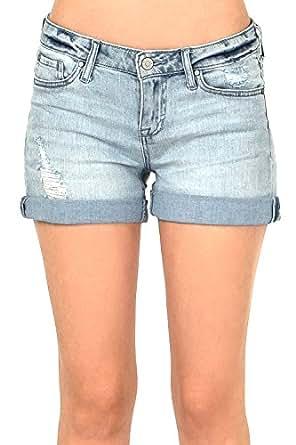 名人粉色女式青少年低腰牛仔短裤卷边 UP 下摆 轻水洗 5