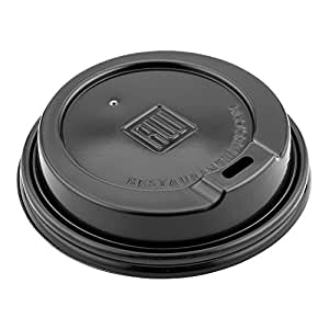 Restaurantware 50 Count 16 oz PS Lids for 12 and Coffee and Tea Cup, Large, Black
