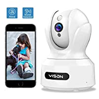 VISON WiFi 宠物摄像头,全高清1080P 狗狗摄像头,360° 宠物监视器,室内猫摄像头,带 Alexa 的家庭*摄像头,红外夜视,运动和声音检测,运动跟踪,双向音频