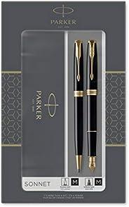 PARKER 派克 Sonnet Duo礼品套装,带圆珠笔和钢笔(18K金笔尖),亮黑色,金色饰边,黑色笔芯和墨囊,礼品盒