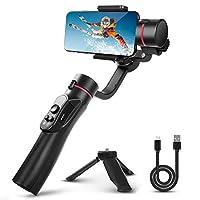 3 轴万向节手持稳定器带三脚架支持智能手机 iPhone 相机防抖手柄陀螺仪自拍 Vlog Youtuber 现场视频录制。