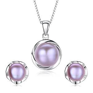 绝妙无暇珍珠耳钉和银链吊坠套装- 无可挑剔的天然,无瑕淡水珍珠和 925 纯银…… 所有女性必须拥有的*独特的时尚珠宝套装 3 - 紫色珍珠 SEA2PP