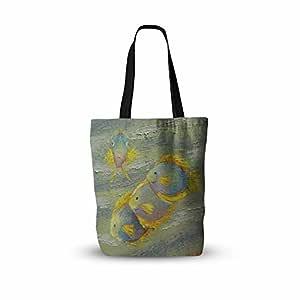 "KESS InHouse Carol Schiff""Something Fishy""绿色橙色绘画所有手提袋 多种颜色 13"" x 13"" CS1076ATB01"
