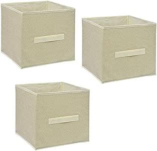 Cube Orgainzing Shelf Drewer 收纳盒带拉手柄,一套 3 个 米色 10.5x11x10.5 in