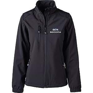 Dunbrooke 服装 NFL 西雅图海鹰队女士软壳夹克,XL 码,黑色
