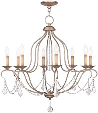 Livex Lighting 6427-73 Chesterfield 8 Light Chandelier, Hand Painted Antique Silver Leaf 需配变压器