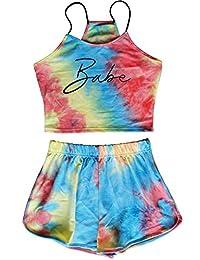 Ancia 女式年轻女孩 2 件套吊带露脐上衣带短裤夏季服装套装
