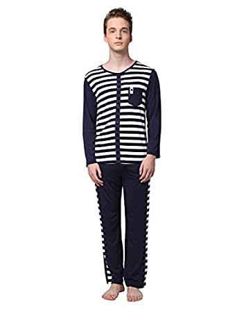 D&P 设计王子 男士开襟圆领睡衣套装 莫代尔长袖家居服 柔软舒适睡衣套装 8722025 蓝白间条 M
