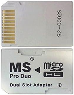 Gonioa Micro SD TF to Memory Stick MS Pro Duo PSP 卡双 2 插槽适配器转换器,白色