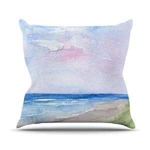 Kess InHouse Rosie 棕色湿沙海滩景观室内/室外抱枕 20L x 20W in. 棕色 RB1029AOP04