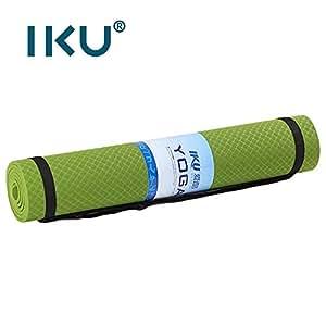 IKU 纯tpe 80CM加宽瑜伽垫 8MM加厚初学者环保无味防滑瑜珈垫 加长男仰卧起坐自由运动健身垫子 183cm*80cm*8mm 送背包+绑带 (平衡绿)
