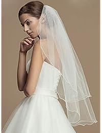 Unsutuo Bride 2 层婚纱头纱带梳子短款新娘头纱铅笔边适用于单身派对