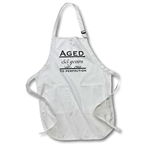 """3dRose apr_157396_4 Aged 55 Years to Perfection Full Length Apron with Pockets, 22 by 30"""", Black"""