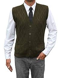 TINKUY PERU - 秘鲁羊驼毛 - 男士背心 基本款 V 领纽扣开衫毛衣
