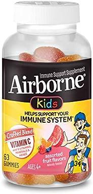 Schiff 旭福 Airborne 維生素C 500毫克- Airborne 兒童水果味軟糖(1盒63粒)含紫錐花和生姜的無麩質支持補充劑,包裝可能有所不同