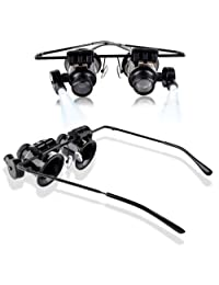 MMOBIEL 20 X 放大镜镜镜镜镜放大镜,放大镜珠宝手表修理双 LED 灯,带超细纤维清洁布