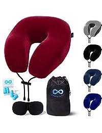 Everlasting 舒适旅行枕 - * 纯*海绵颈枕 - 包括眼罩和耳塞 红色 标准 Travel Pillow