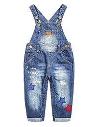 Kidscool Space Baby&Little Girls Snap Lead 尿布更换星星刺绣牛仔裤