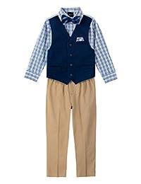 Nautica 诺帝卡 男孩 4 件套衬衫、蝴蝶结、背心和裤子