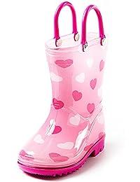 Puddle Play 学步儿童儿童雨靴,易穿手柄 - 男孩女孩颜色和设计