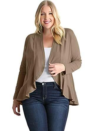 加大码女式荷叶边开衫毛衣 - 美国制造 灰褐色 1X US 14-16