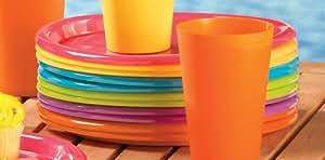 12 个彩色塑料野餐盘套装