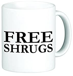 Rikki Knight Free Shrugs Funny Ceramic Coffee Mug Cup, 11-Ounce, White