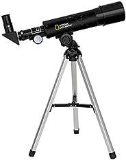 National Geographic 50/360望远镜 配有铝制三脚架 60倍放大 带天顶镜 适合陆地及行星观测 黑色