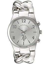 U.S. Polo Assn. 女式 USC40178 模拟显示模拟石英银色手表