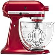KitchenAid KSM155GBCA 5夸脱(2.37 升)Artisan Design系列搅拌机 配玻璃碗 - 糖果苹果红,需配变压器