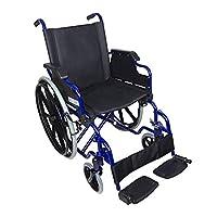 Mobiclinic 标准轮椅,折叠扶手,蓝色框架带黑色座椅,座椅宽度43厘米,Giralda 款式
