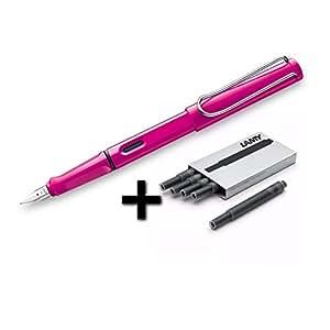 凌美 Safari 钢笔,中号笔尖 + 5 黑色墨盒 粉红色