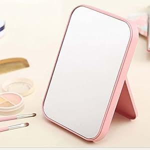 【高清单面化妆镜】高清单面化妆镜子台式大号创意欧式便携折叠镜简易 (升级款粉红色镜子)