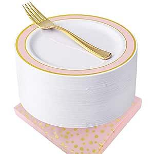 NERVURE 玫瑰金一次性盘子和餐巾套装 150 件:50 个小盘子、50 个金色叉子、50 个餐巾、婚礼派对塑料盘子、花式沙拉盘和开胃菜盘,适合所有节日及场合 金粉色 150 piece
