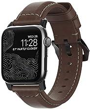 Nomad 传统表带 适用于 Apple 手表 40mm/38mm | 乡村棕色Horween 皮革 | 黑色五金件