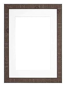 "*盒深质乡村风格相框/相框/海报框架,带定制支架和 MDF 背板 - 深乡村风格 Walnut With White Bespoke Mount 16""x12"" for 12""x10"" pictures DeepRustic-wlnt-wht-16-12-2"