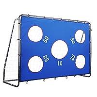 Pinty 2 合 1 儿童足球门 8 x 6 英尺(约 2.4 x 1.8 米),粉末涂层钢制后院足球门 带全天候网和可拆卸目标球网,提高技能