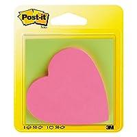Post-It 6820WDCH 便利贴便签纸50张,76 x 76 毫米,1叠50张,心形,霓虹绿 / 霓虹粉色