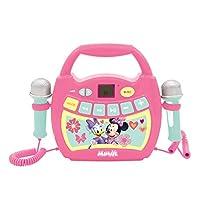 Lexibook MP300MNZ 迪士尼米妮,我的*个卡拉OK音乐播放器,带2个玩具麦克风,无线,录音功能,声音效果,粉红色 / *