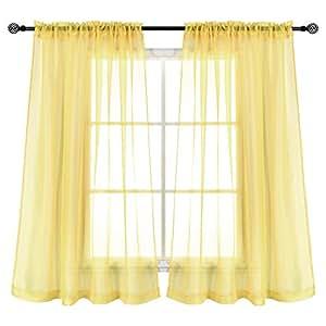 KEQIAOSUOCAI 2 片纯色纯色纯色纯色杆套帘适用于卧室客厅 奶油黄色 52 * 63Inch CSCS-15-CREAMYELLOW-52X63