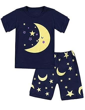 DHASIUE 圣诞女孩睡衣棉质长睡衣套装小童睡衣尺码 2-7 岁 12 Dark Blue (Moon and Stars) 2-3 Years