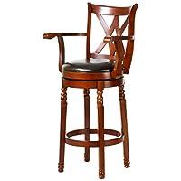 百伽 美亚同款实木吧椅餐厅酒吧旋转高脚凳靠背吧台椅54012 棕色(配送上门/安装咨询电话:400-00-17901,QQ:947880481)