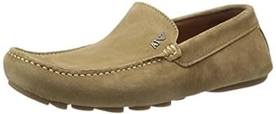 Armani Jeans 男士 DRV 套脚 乐福鞋,Cammello,45 EU/11 M US