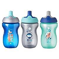 Tommee Tippee 学步儿童运动奶瓶,男孩 - 12 个月以上宝宝,10 盎司,3 只装,蓝色