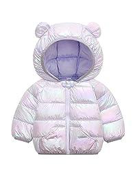 WUSENST 婴儿男孩女孩冬季外套连帽轻便羽绒夹克外套 01-light Purple 2T