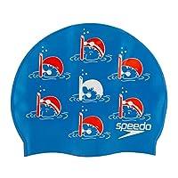 Speedo 男孩青少年口号泳帽,Bondi - 蓝色/拉瓦-红色/白色,均码