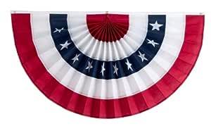 独立捆绑与旗帜 5 条纹褶皱扇,带星星,红色/白色/星星/白色/红色 12 by 24-Inch 1CFAN12-5RWSWR