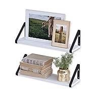 Wallniture Ponza 白色浮动搁板壁挂式 2 件套,木质墙壁搁板,适用于客厅装饰、组织和存储