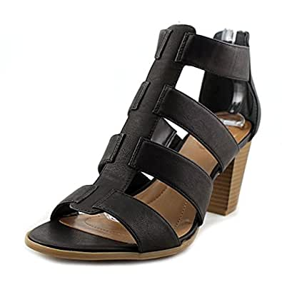 Style & Co. Womens janinaa Leather Open Toe Casual Strappy, Black, Size 10.0 US
